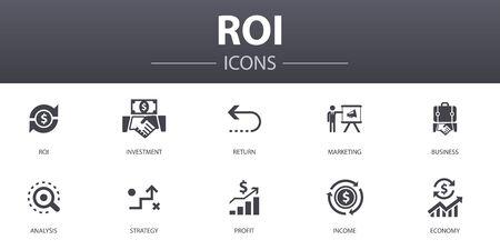 ROI eenvoudig concept pictogrammen instellen. Bevat iconen als investering, rendement, marketing, analyse en meer, kan worden gebruikt voor web Vector Illustratie