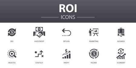 Zestaw ikon prosta koncepcja zwrotu z inwestycji. Zawiera ikony takie jak inwestycja, zwrot, marketing, analiza i inne, mogą być używane w sieci Ilustracje wektorowe