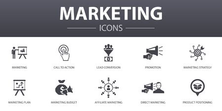marketing simple concept icons set. Contains such icons as call to action, promotion, marketing plan, marketing strategy and more, can be used for web