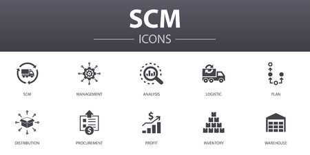 SCM simple concept icons set. Contains such icons as management, analysis, distribution, procurement and more, can be used for web