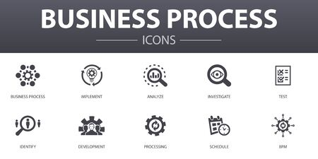 Business process simple concept icons set. Contains such icons as implement, analyze, development, Processing and more, can be used for web