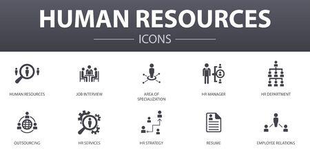Human Resources eenvoudig concept pictogrammen instellen. Bevat pictogrammen zoals sollicitatiegesprek, hr-manager, outsourcing, cv en meer, kan worden gebruikt voor web