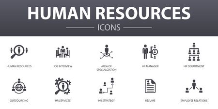 Human Resources simple concept icons set. Contains such icons as job interview, hr manager, outsourcing, resume and more, can be used for web Фото со стока - 130896389