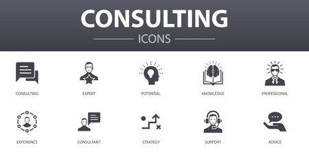 Consulting simple concept icons set. Contains such icons as Expert, knowledge, experience, consultant and more, can be used for web