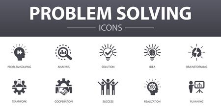 problem solving simple concept icons set. Contains such icons as analysis, idea, brainstorming, teamwork and more, can be used for web