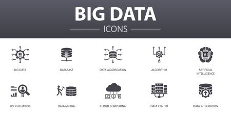 Big data simple concept icons set. Contains such icons as Database, Artificial intelligence, User behavior, Data center and more, can be used for web