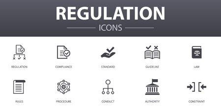 規制シンプルなコンセプトアイコンセット。コンプライアンス、標準、ガイドライン、ルールなどのアイコンを含み、ウェブに使用することができます ベクターイラストレーション