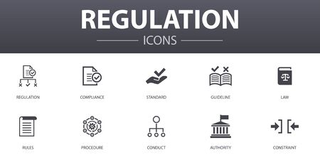 conjunto de iconos de concepto simple de regulación. Contiene íconos como cumplimiento, estándar, pautas, reglas y más, que se pueden usar para web Ilustración de vector