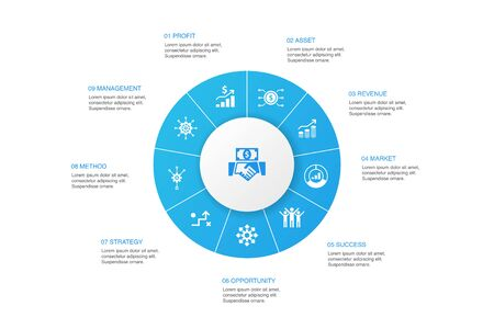 Investment Infographic 10 steps circle design.profit, asset, market, success icons