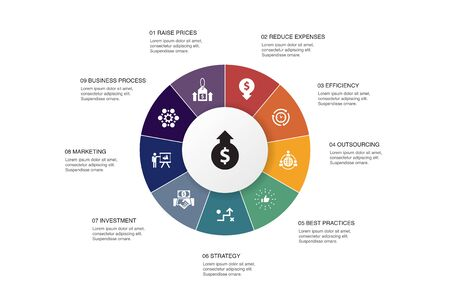 increase revenue Infographic 10 steps circle design. Raise prices, reduce expenses, best practices, strategy icons Archivio Fotografico - 131234677