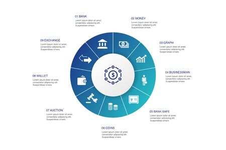 Finance Infographic 10 steps circle design.Bank, Money, Graph, Exchange icons