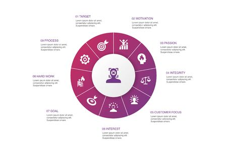 focus Infographic 10 steps circle design.target, motivation, integrity, process icons
