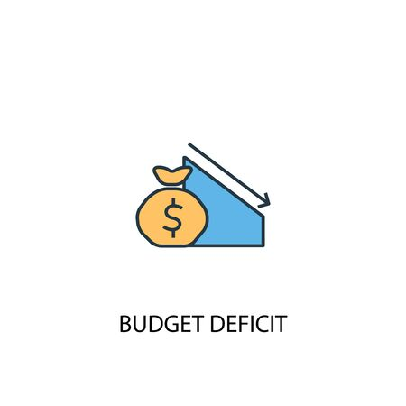 budget deficit concept 2 colored line icon. Simple yellow and blue element illustration. budget deficit concept outline symbol