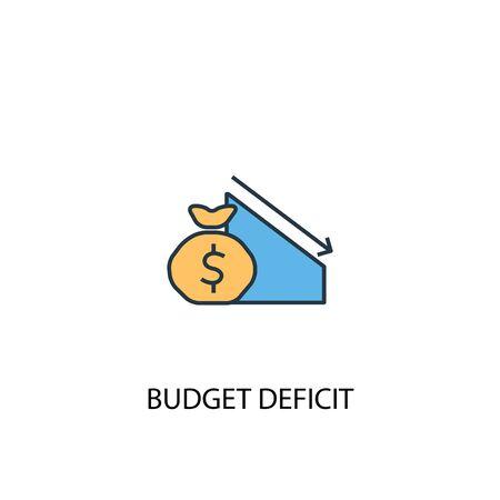 Budgetdefizit-Konzept 2 farbige Liniensymbol. Einfache gelbe und blaue Elementillustration. Budgetdefizit-Konzept-Gliederungssymbol Vektorgrafik
