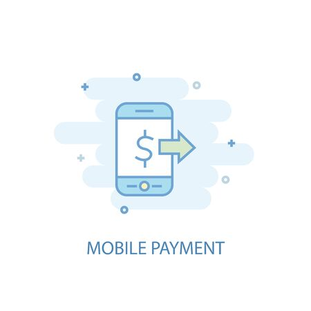Mobile payment line concept. Simple line icon, colored illustration. Mobile payment symbol flat design 向量圖像