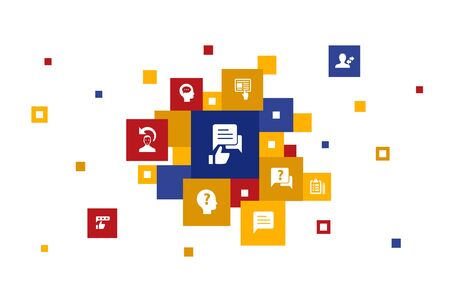 retroalimentación infografía 10 pasos diseño de la burbuja encuesta, opinión, comentario, iconos de respuesta