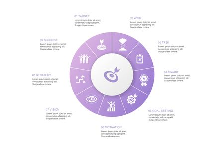 goal Infographic 10 steps circle design.target, wish, task, goal setting icons