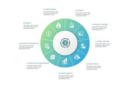 Income Infographic 10 steps circle design. save money, profit, investment, profitability icons