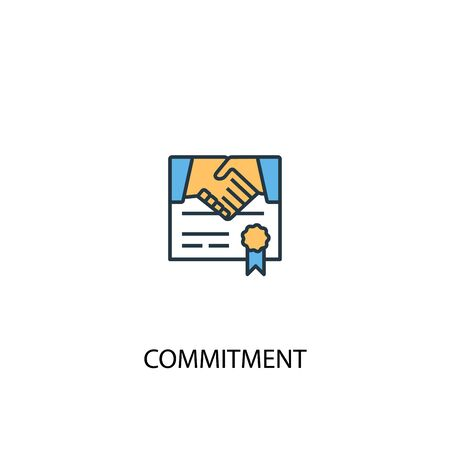 commitment concept 2 colored line icon. Simple yellow and blue element illustration. commitment concept outline symbol design