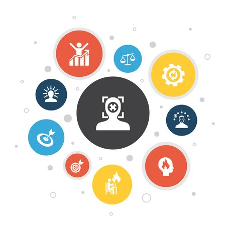 focus Infographic 10 steps pixel design.target, motivation, integrity, process icons