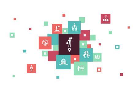 Entrepreneurship Infographic 10 steps bubble design.Investor, Partnership, Leadership, Team building icons