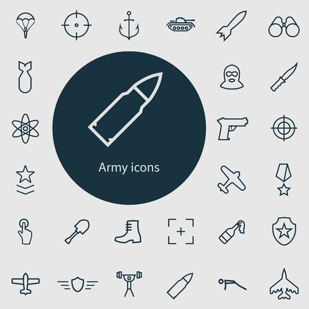 army outline, thin, flat, digital icon set. Ilustracja