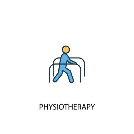 physiotherapy concept 2 colored line icon. Simple yellow and blue element illustration. physiotherapy concept outline symbol Ilustrace