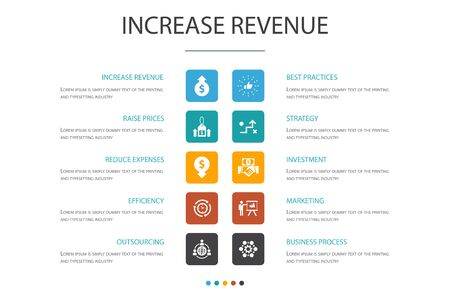increase revenue Infographic 10 option template.Raise prices, reduce expenses, best practices, strategy simple icons