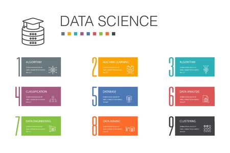 Data science Infographic 10 option line concept.machine learning, Big Data, Database, Classification simple icons