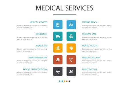 Medical services Infographic cloud design template.Emergency, Preventive care, patient Transportation, Prenatal care simple icons Иллюстрация