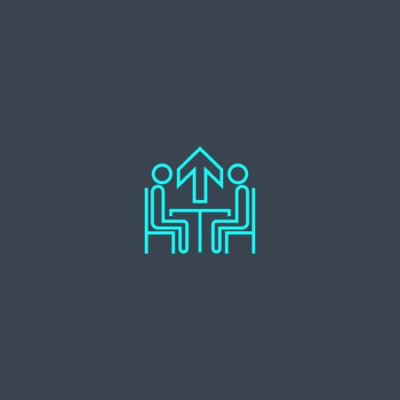 Mentoring concept blue line icon. Simple thin element on dark background. Mentoring concept outline symbol design. Can be used for web and mobile UI