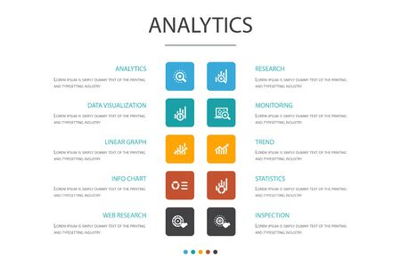 analytics Infographic 10 option concept.linear graph, web research, trend, monitoring simple icons Çizim