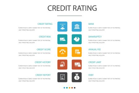 credit rating Infographic 10 option concept.Credit risk, Credit score, Bankruptcy 向量圖像