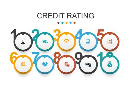 credit rating Infographic design template Credit risk, Credit score, Bankruptcy, Annual Fee Фото со стока - 130941414