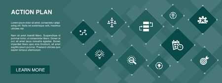 action plan banner 10 icons concept.improvement, strategy, implementation, analysis simple icons Illustration
