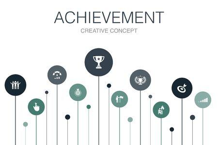 achievement Infographic 10 steps template. progress, performance, goal, success icons Ilustracja