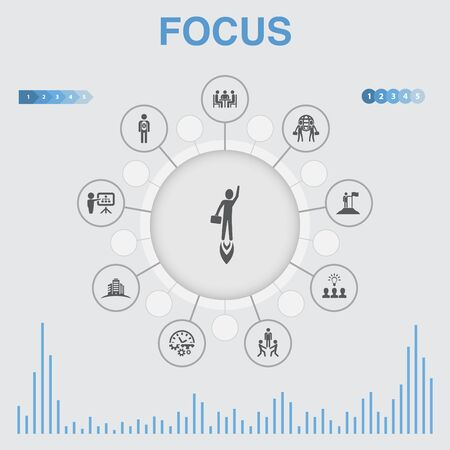 focus infographic with icons. Contains such icons as target, motivation, integrity, process