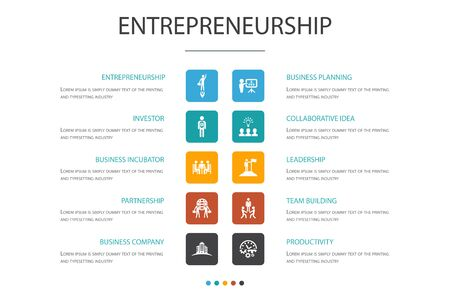 Entrepreneurship Infographic 10 option template.Investor, Partnership, Leadership, Team building icons