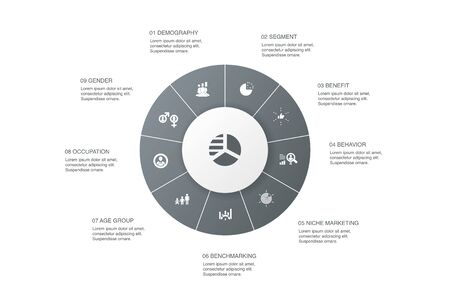 market segmentation Infographic 10 steps circle design.demography, segment, Benchmarking, Age group icons