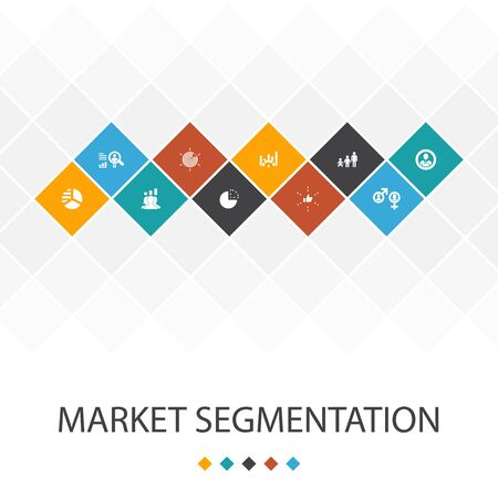 market segmentation trendy UI template infographics concept.demography, segment, Benchmarking, Age group icons