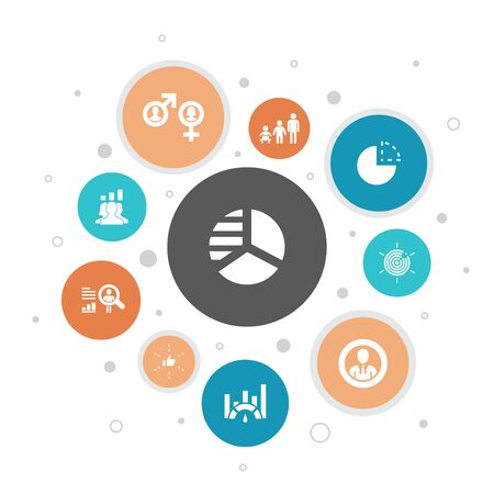 market segmentation Infographic 10 steps bubble design.demography, segment, Benchmarking, Age group icons Illustration