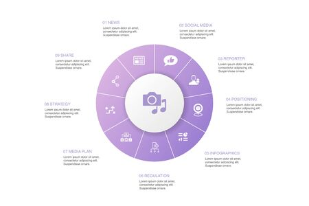 media Infographic 10 steps circle design.news, reporter, Infographics, media plan simple icons