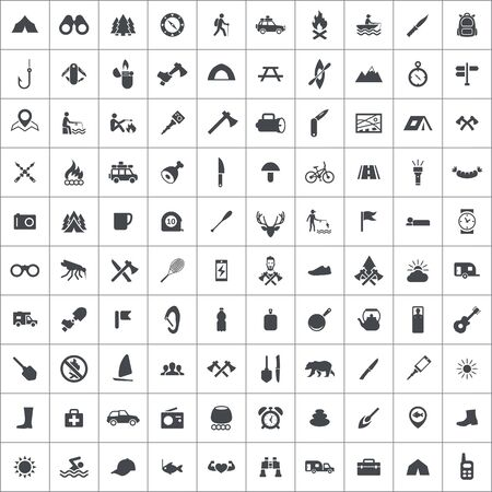 camping 100 icons universal set for web and UI. Ilustracja
