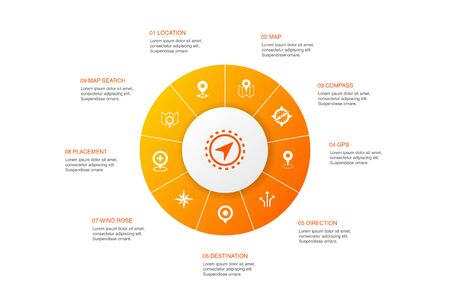 Navigation Infographic 10 steps circle design.location, map, gps, direction icons