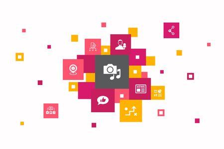 media Infographic 10 steps pixel design. news, reporter, Infographics, media plan icons