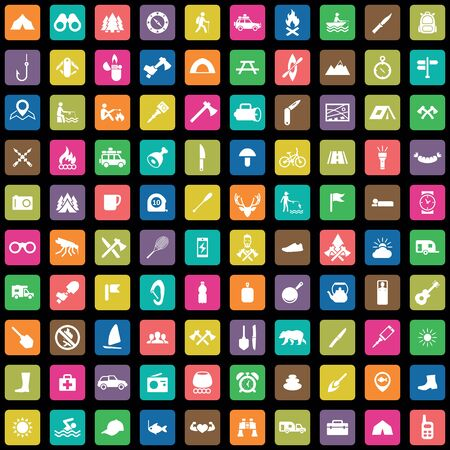 camping 100 icons universal set for web and mobile. Ilustracja
