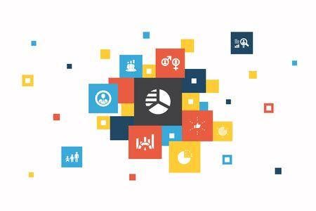 market segmentation Infographic 10 steps pixel design. demography, segment, Benchmarking, Age group icons