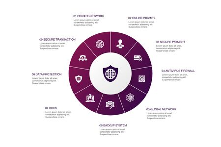 network security Infographic 10 steps circle design.private network, online privacy, backup system, data protection icons