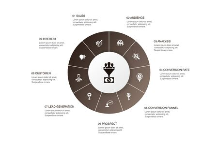 lead conversion Infographic 10 steps circle design.sales, analysis, prospect, customer icons Illustration