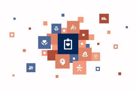 Medical services Infographic 10 steps pixel design. Emergency, Preventive care, patient Transportation, Prenatal care icons 向量圖像